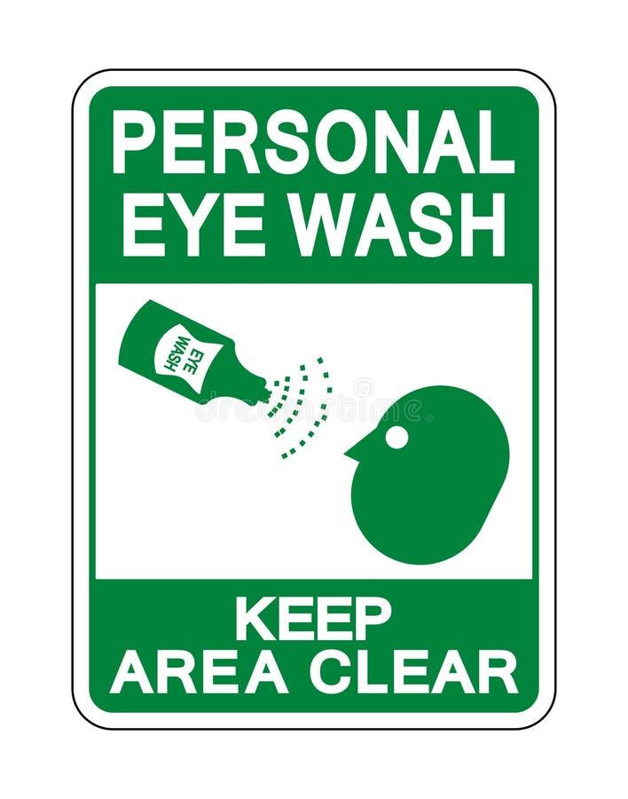 Det personliga ögat tvättar isolaten för tecknet för uppehälleområdesfrikänden på vit bakgrund, vektorillustration stock illustrationer