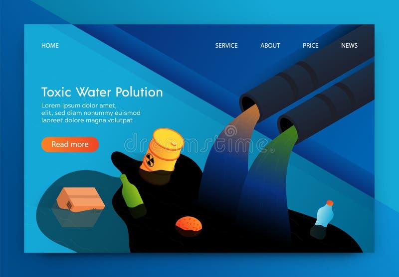 Det plana banret är skriftlig giftlig vattenförorening 3d vektor illustrationer