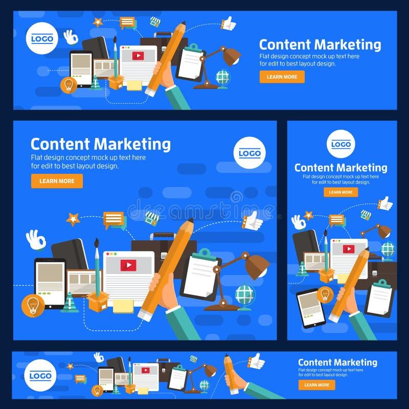 Det plana designbegreppet främjar digitalt marknadsföringsämne för affär om kommunikation också vektor för coreldrawillustration royaltyfri illustrationer