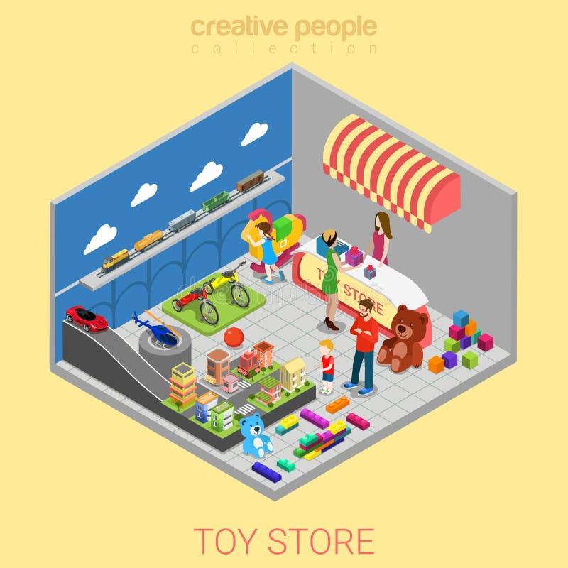 Det plana isometriska barnet för ungen för lagret för leksaken 3d infographic shoppar inre vektor illustrationer