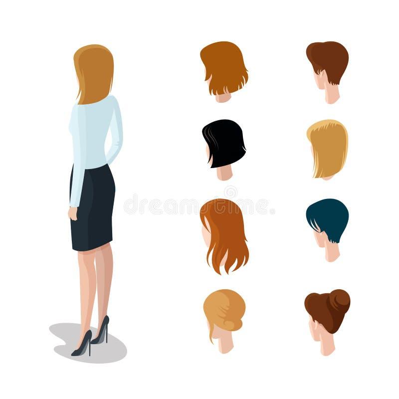 Det plana isometriska huvudet skriver constru för kvinnahårstil royaltyfri illustrationer