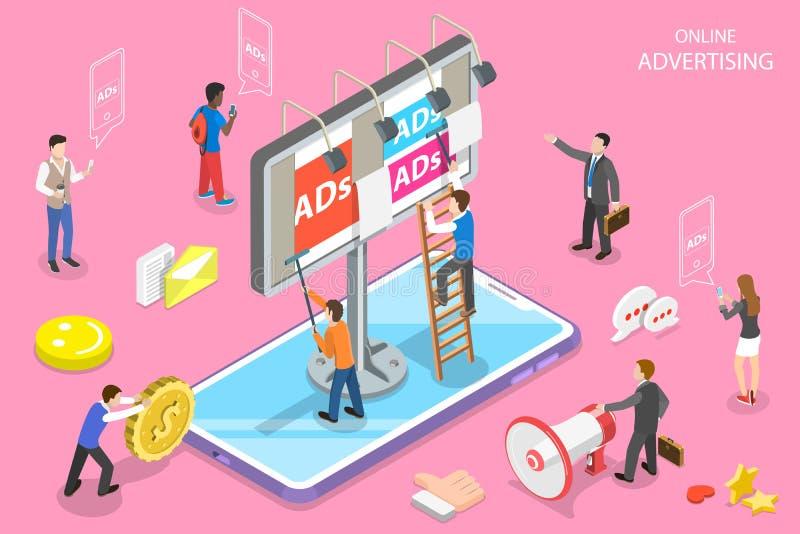 Det plana isometriska vektorbegreppet av mobil annonsering, socialt massmedia delta i en kampanj vektor illustrationer