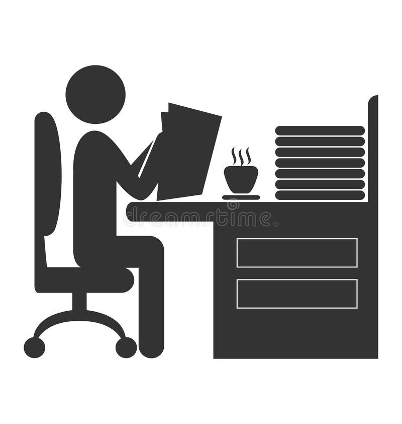 Det plana kontoret läste den isolerade tidningssymbolen på vit stock illustrationer