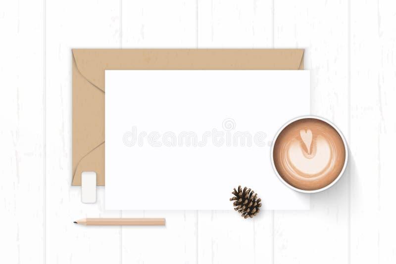Det plana lekmanna- för sammansättningsbokstaven för den bästa sikten eleganta vita för kraft kuvertet papper sörjer kotteblyerts royaltyfri illustrationer