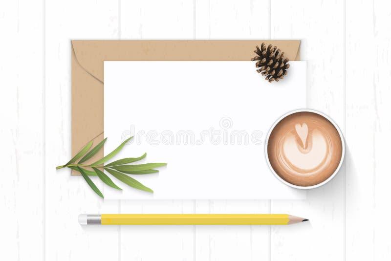 Det plana lekmanna- för sammansättningsbokstaven för den bästa sikten eleganta vita för kraft kuvertet papper sörjer för blyertsp vektor illustrationer