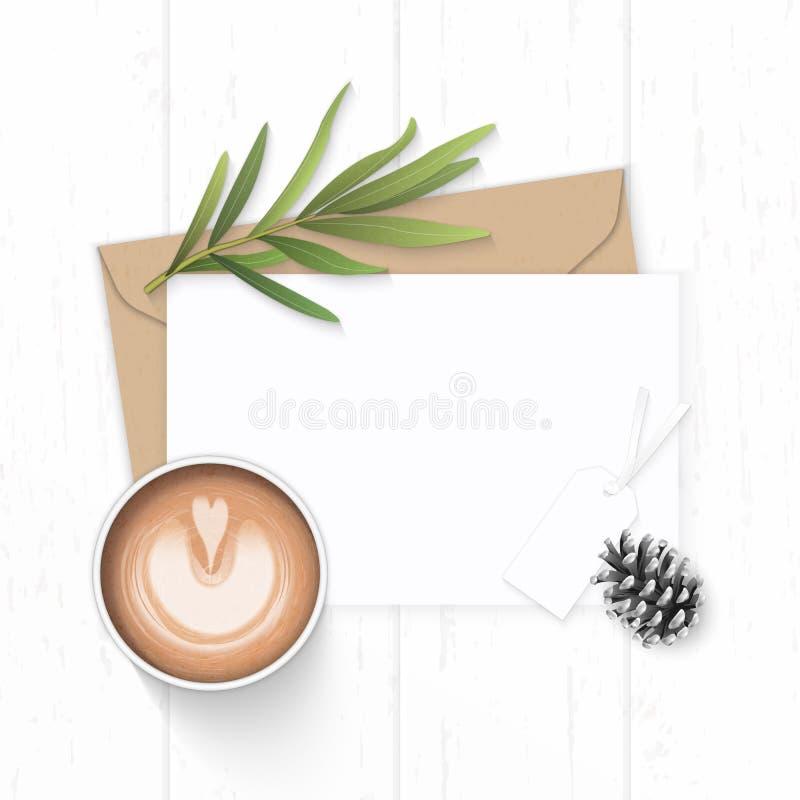 Det plana lekmanna- för sammansättningsbokstaven för den bästa sikten eleganta vita för kraft kuvertet papper sörjer etiketten oc royaltyfri illustrationer