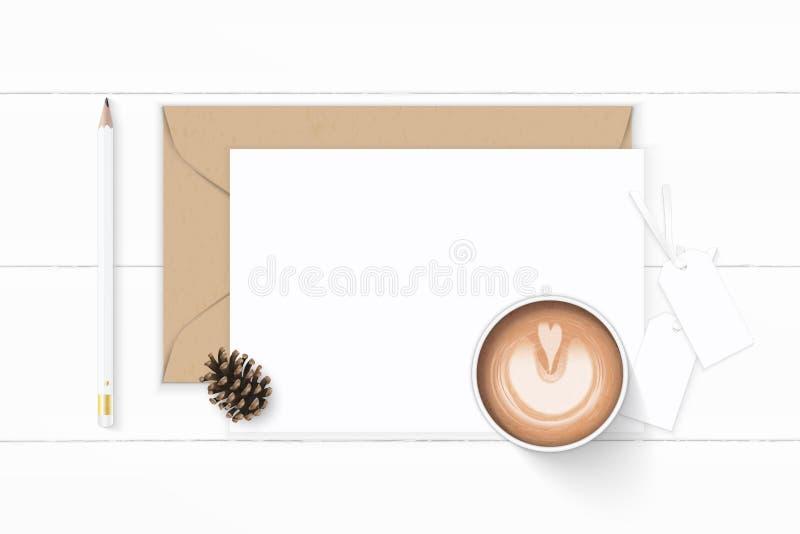 Det plana lekmanna- för sammansättningsbokstaven för den bästa sikten eleganta vita för kraft kuvertet papper sörjer kotte- och b stock illustrationer
