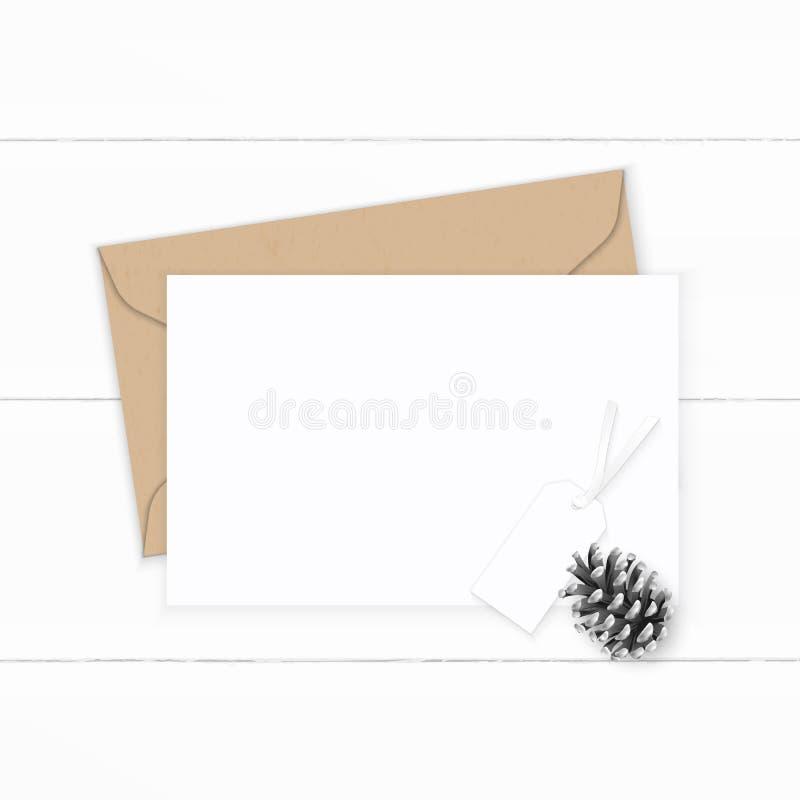 Det plana lekmanna- för sammansättningsbokstaven för den bästa sikten eleganta vita för kraft kuvertet papper sörjer kotten och e vektor illustrationer