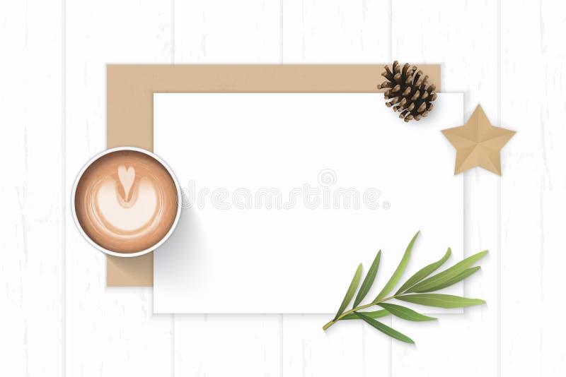 Det plana lekmanna- för sammansättningspapper för den bästa sikten eleganta vita kraft kuvertet sörjer hantverket för form för bl stock illustrationer