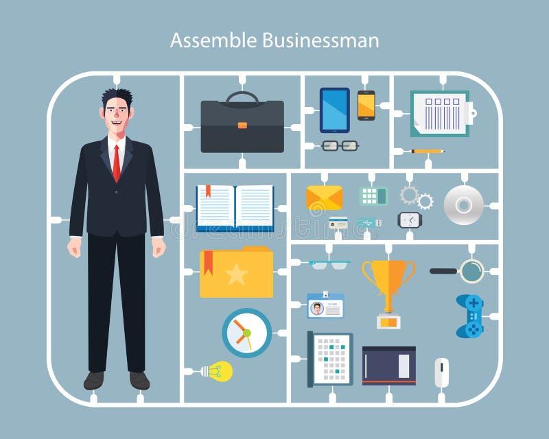 Det plana teckenet av monterar affärsmanbegreppsillustrationer stock illustrationer
