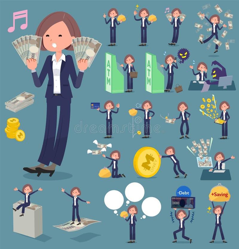 Det plana typsvartomslaget flåsar affärswomen_money royaltyfri illustrationer
