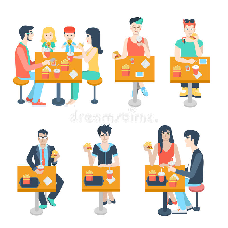 Det plana vektorfolket, par, vänner äter i fastfoodkafé vektor illustrationer