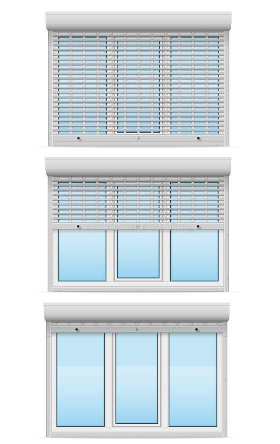 Det plast- fönstret bak metall perforerade vektor I för rullande slutare royaltyfri illustrationer