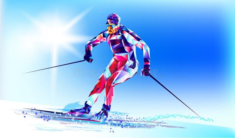 Det polygonal färgrika diagramet av en snowboarding för ung man med på en vit- och blåttbakgrund Bakgrund för vektorillustrationb stock illustrationer