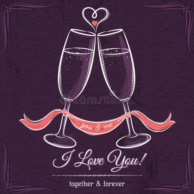 Det purpurfärgade bröllopkortet med två exponeringsglas av vin och önskaen smsar royaltyfri illustrationer