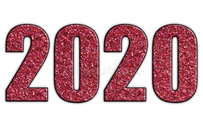 Det röda året 2020 blänker stock illustrationer