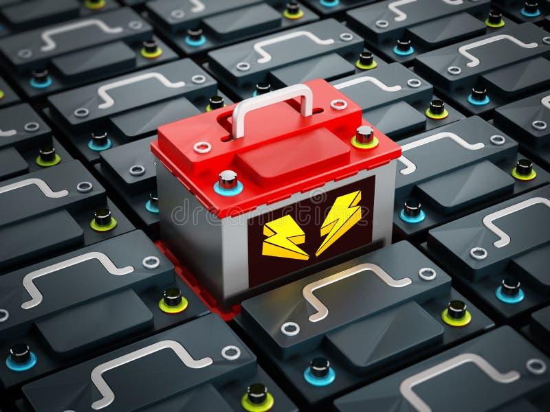 Det röda bilbatteriet står ut vektor illustrationer