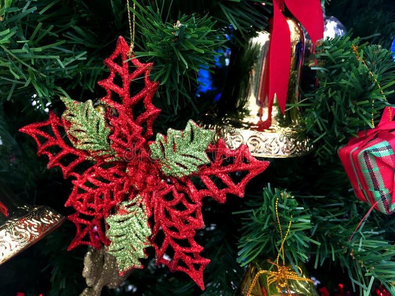 Det röda bladet och den guld- klockan med det röda bandet dekorerar på julgranen royaltyfria foton