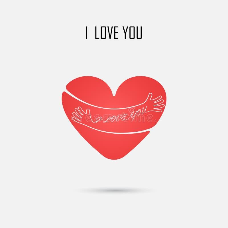Det röda hjärtatecknet och JAG ÄLSKAR DIG typografiska designbeståndsdelar kram royaltyfri illustrationer