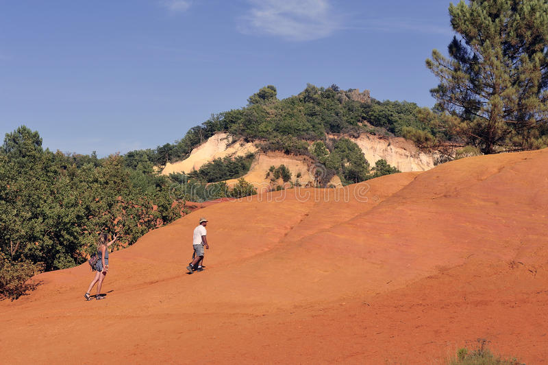 Det röda landskapet grävde vid sex utvecklingar av gruvarbetareockraColorado Pr arkivfoto
