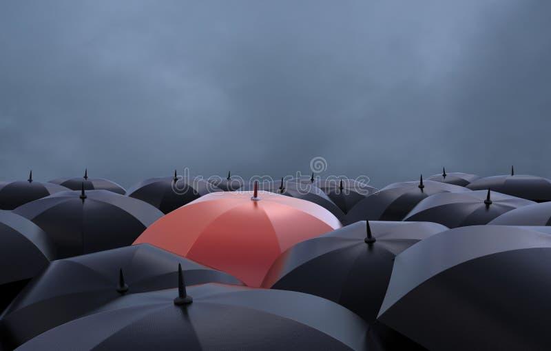 Det röda paraplyet vektor illustrationer