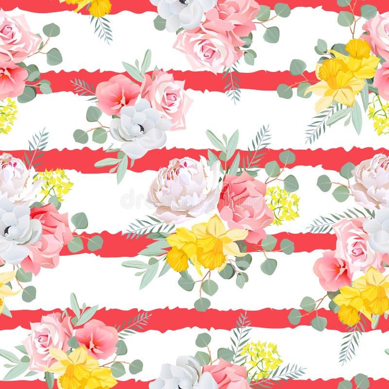 Det röda randiga trycket med buketter av steg, pion-, pingstlilja-, rosa färg- och gulingblommor, eucaliptissidor vektor illustrationer