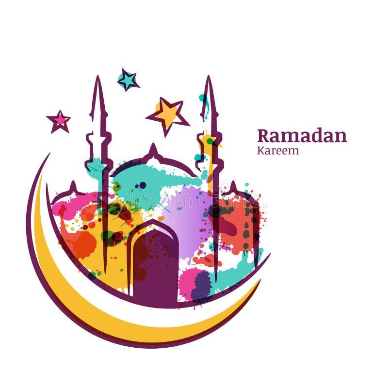 Det Ramadan Kareem hälsningkortet med vattenfärgen isolerade illustrationen av den flerfärgade moskén på månen vektor illustrationer