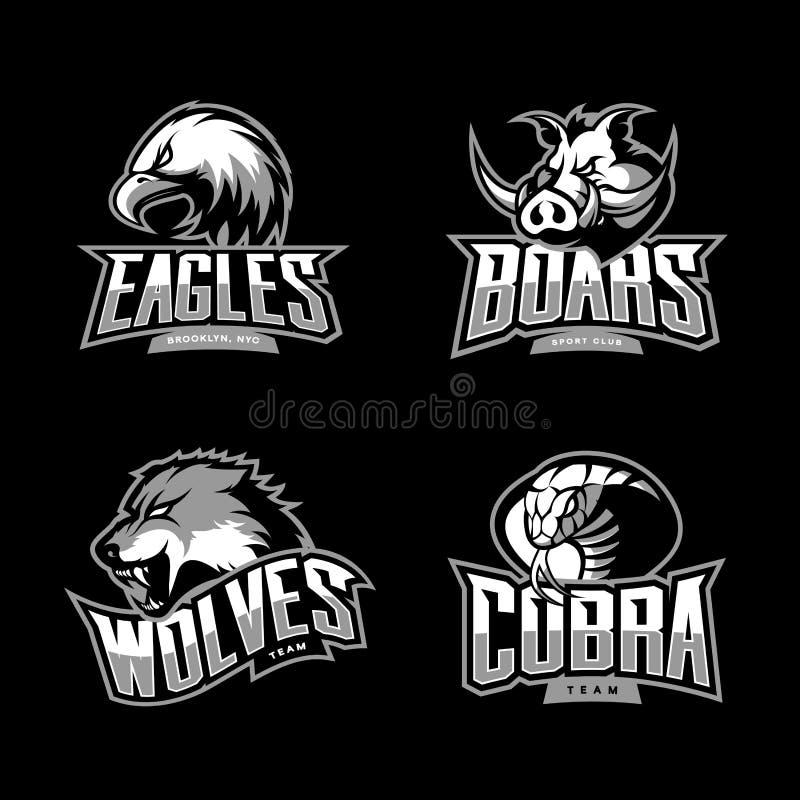 Det rasande begreppet för logoen för den kobra-, varg-, örn- och galtsportvektorn ställde in på mörk bakgrund royaltyfri illustrationer