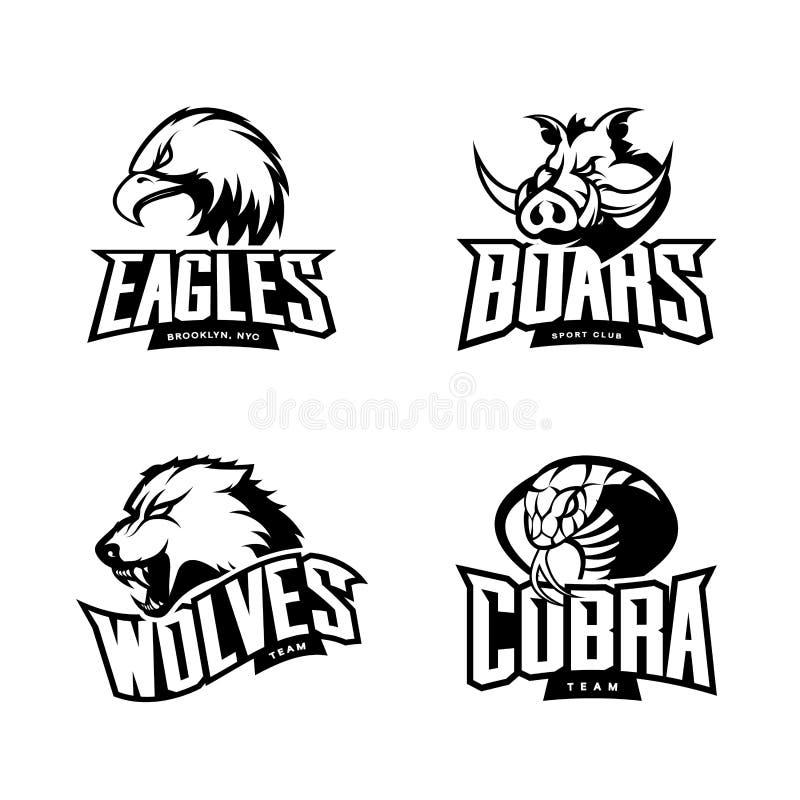Det rasande begreppet för logoen för den kobra-, varg-, örn- och galtsportvektorn ställde in på vit bakgrund royaltyfri illustrationer