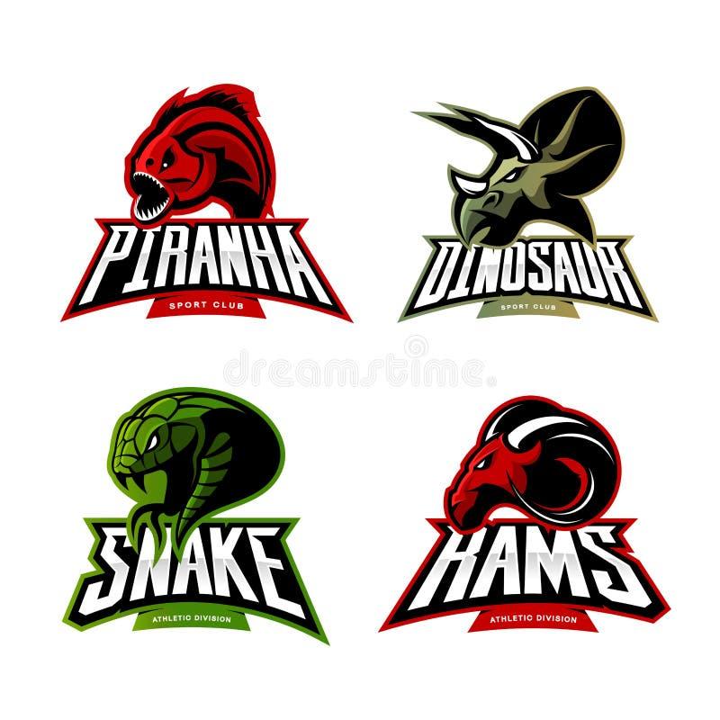 Det rasande för sportvektorn för piranhaen, för RAM, för ormen och för dinosaurien head begreppet för logoen ställde in på vit ba stock illustrationer