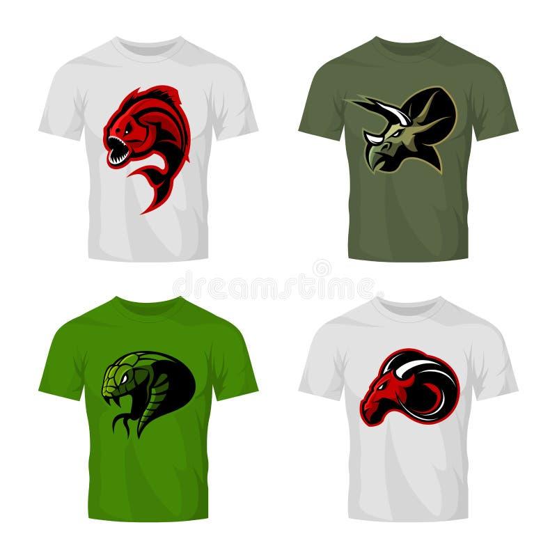 Det rasande för sportvektorn för piranhaen, för RAM, för ormen och för dinosaurien head begreppet för logoen ställde in på t-skjo vektor illustrationer