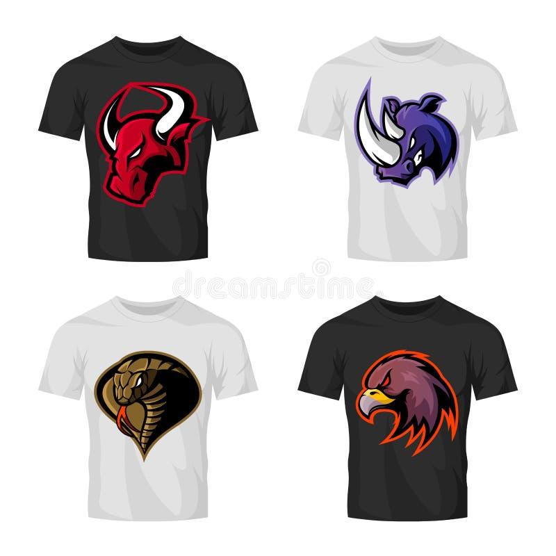 Det rasande för sportvektorn för tjuren, för noshörningen, för kobran och för örnen head begreppet för logoen ställde in på t-skj vektor illustrationer