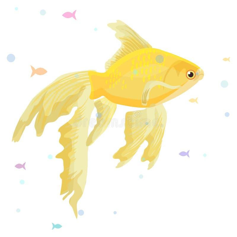 Det realistiska akvariet med den guld- fisken på en trähyllaaffisch och titeln gör en önskavektorillustration royaltyfria bilder