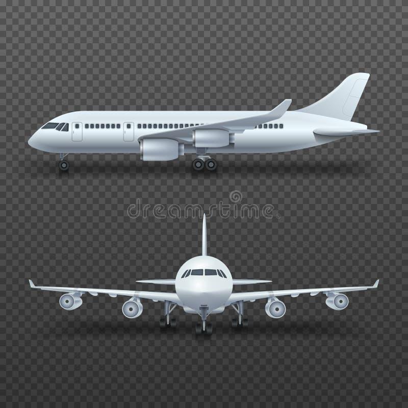 Det realistiska flygplanet för detaljen 3d, den kommersiella strålen isolerade vektorillustrationen vektor illustrationer