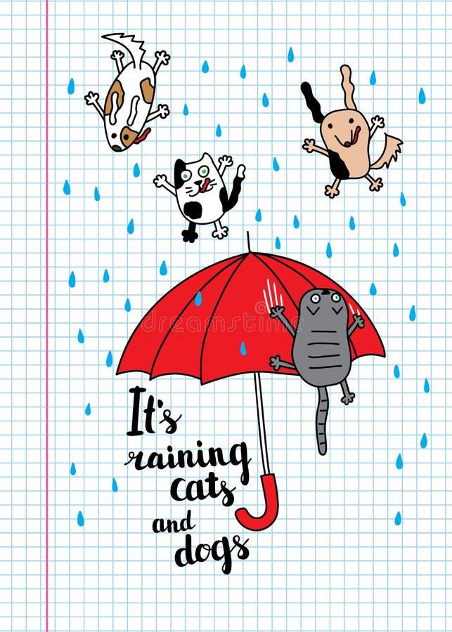 Det regnar katt- och hundkapplöpninghöstkortet royaltyfri illustrationer