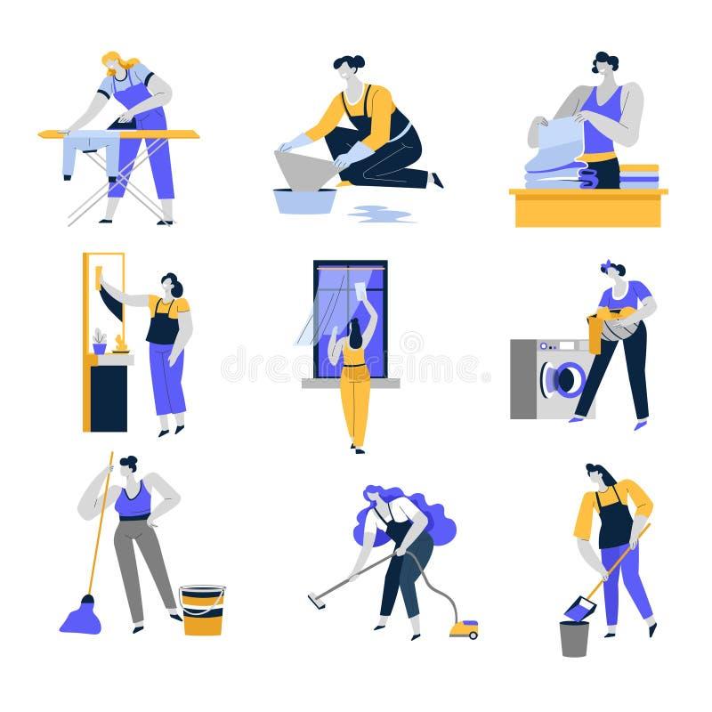 Det rengörande service och hushållet isolerade symboler, kvinnor eller hemmafruar vektor illustrationer