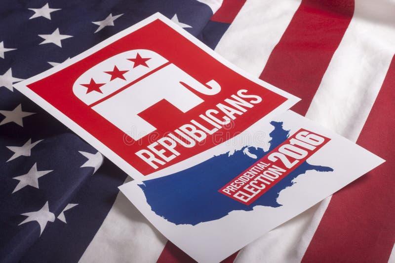 Det republikanska valet röstar och amerikanska flaggan royaltyfri bild