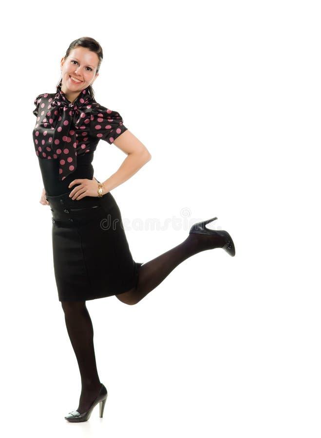 Det Retro kvinnainnehav räcker på kutaspringet arkivfoton
