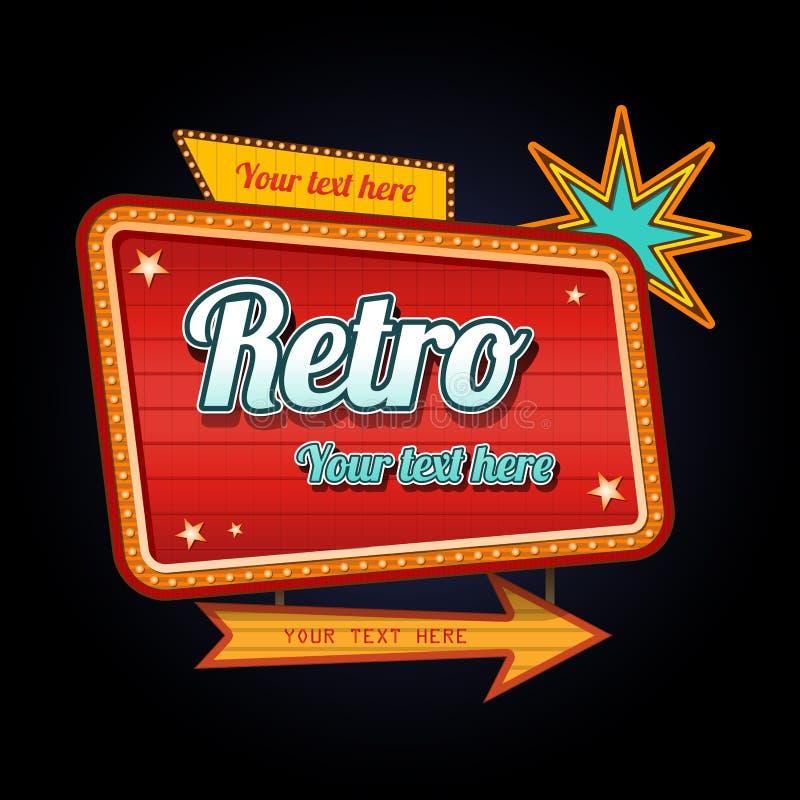 Det Retro motell undertecknar med copyspace royaltyfri illustrationer