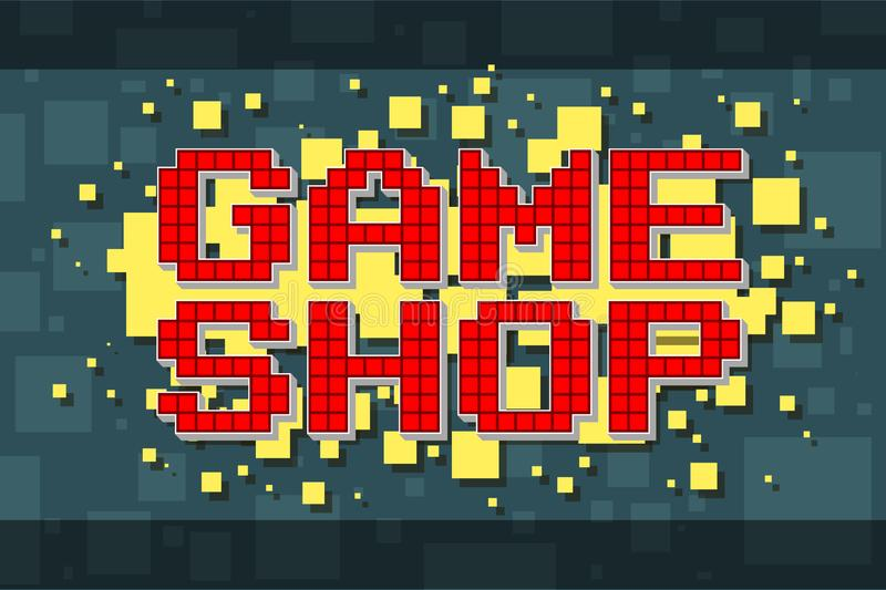 Det retro röda PIXELet shoppar knappen för videospel vektor illustrationer