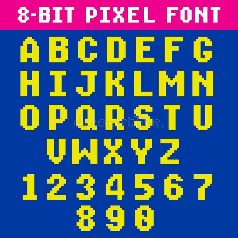 Det Retro videospelPIXELet märker och numrerar stilsorten, digitalt alfabet vektor illustrationer
