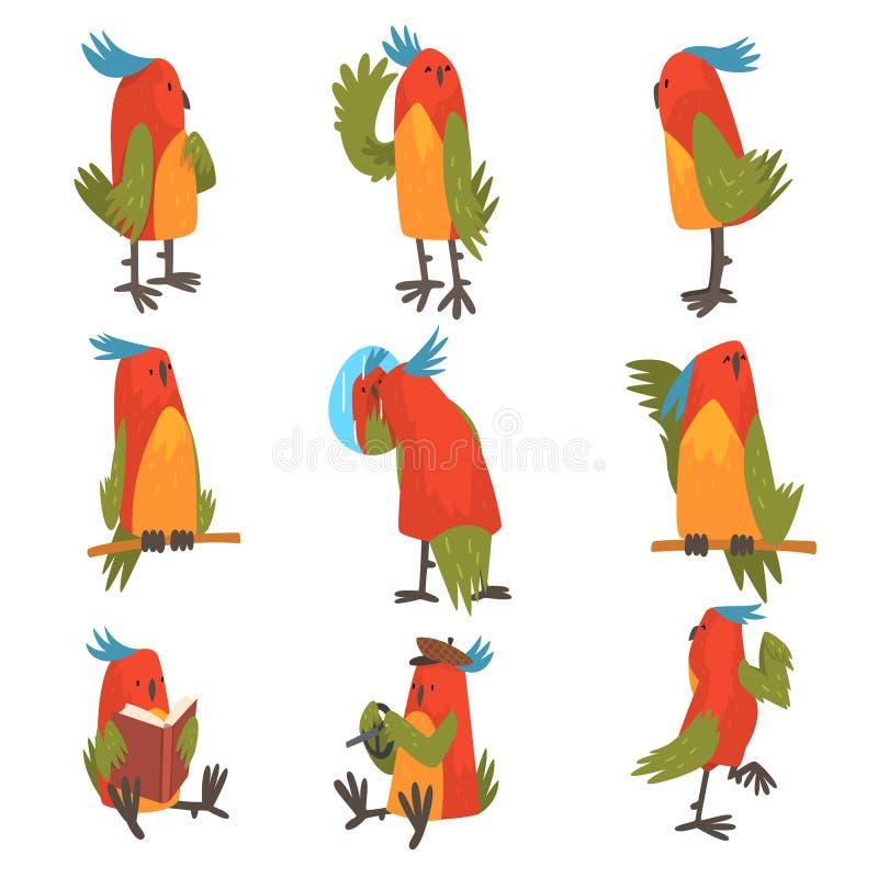 Det roliga fågeltecknad filmteckenet i olika lägen ställde in, den gulliga pippin med ljusa färgrika fjädrar och tofsvektorn royaltyfri illustrationer