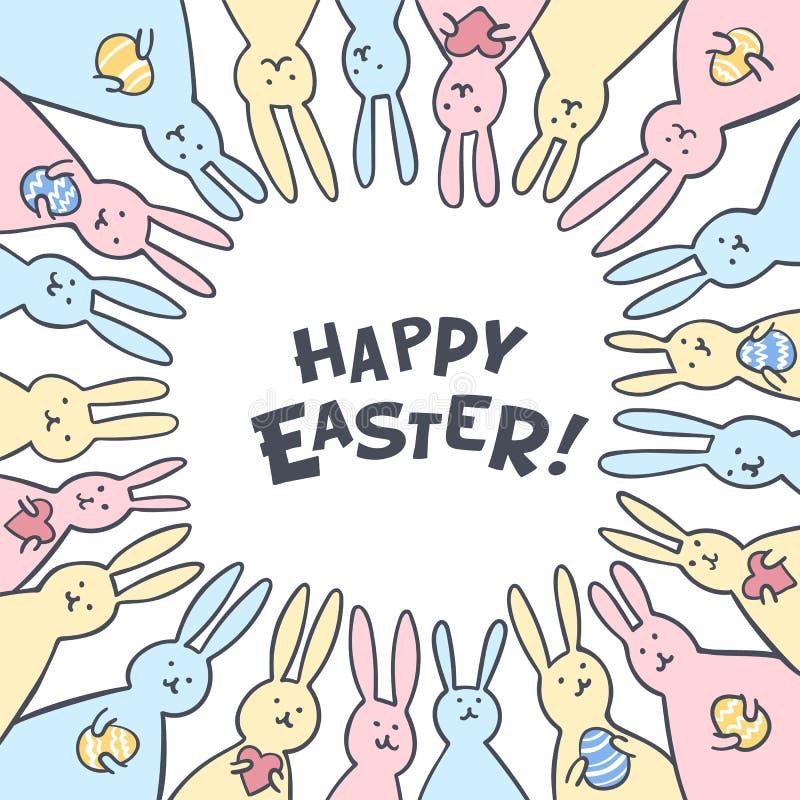 Det roliga kortet för kaninpåskhälsningen med den vita påsken oavbrutet tjata Illustration av gulliga kaniner med easter ägg och  stock illustrationer