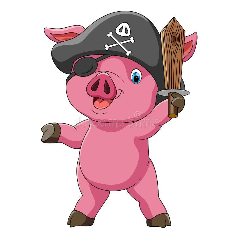 Det roliga svinet i dräkt av piratkopierar med svärdet stock illustrationer