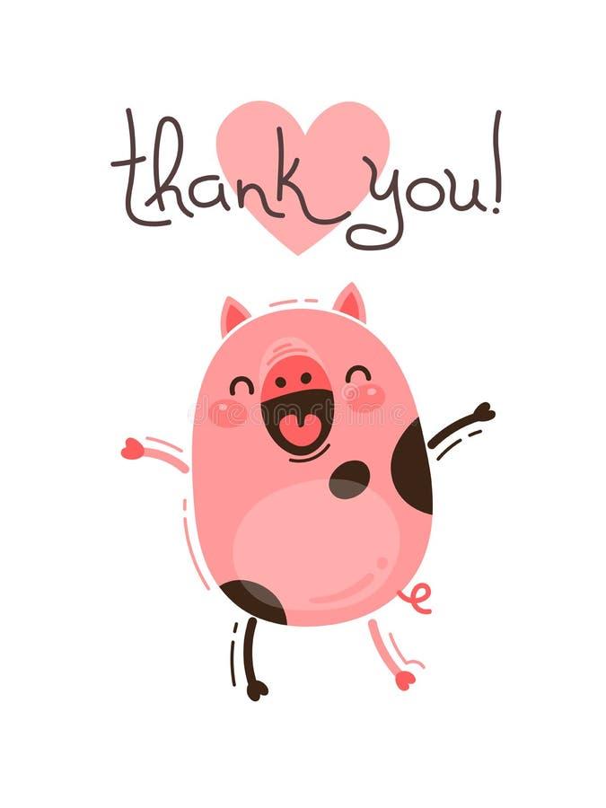 Det roliga svinet säger tackar dig Lycklig rosa spädgris Vektorillustration i tecknad filmstil royaltyfri illustrationer