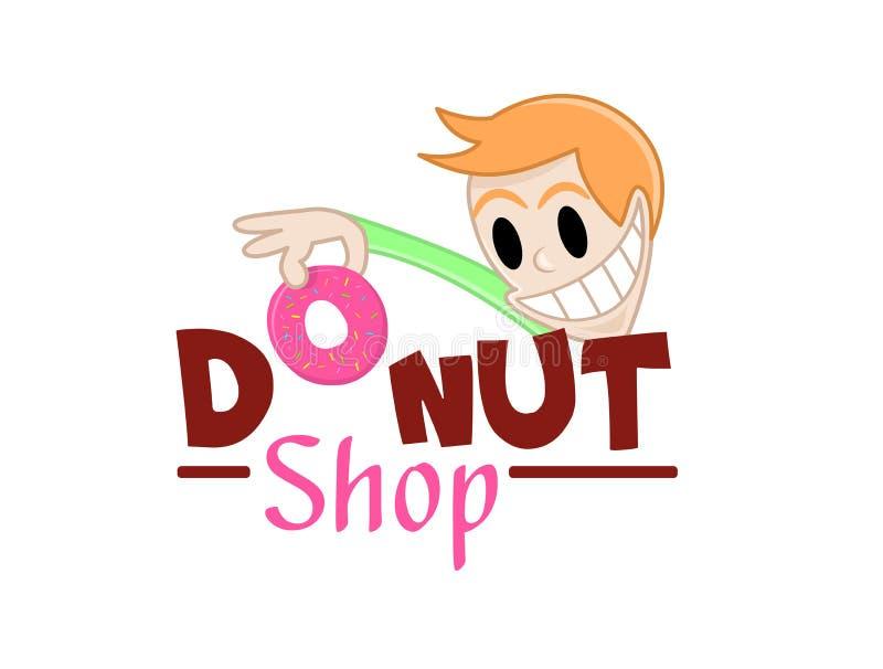Det roliga teckenet tar en munk Vektorillustrationen av läckra söta donuts shoppar logosymbolen Design för nya bageriprodukter, b vektor illustrationer
