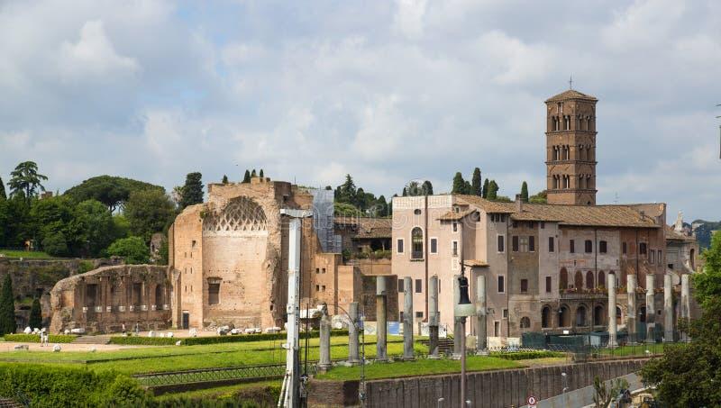 Det roman forumet i Rome, Italien fotografering för bildbyråer