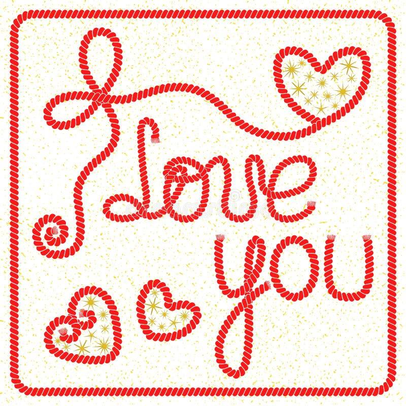 Det romantiska hälsningkortet för vektorn med bokstäver älskar jag dig stock illustrationer