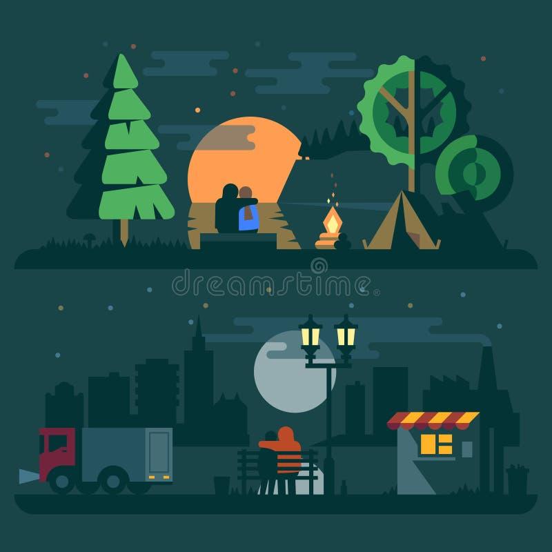 Det romantiska landskapet, kopplar ihop förälskat stock illustrationer