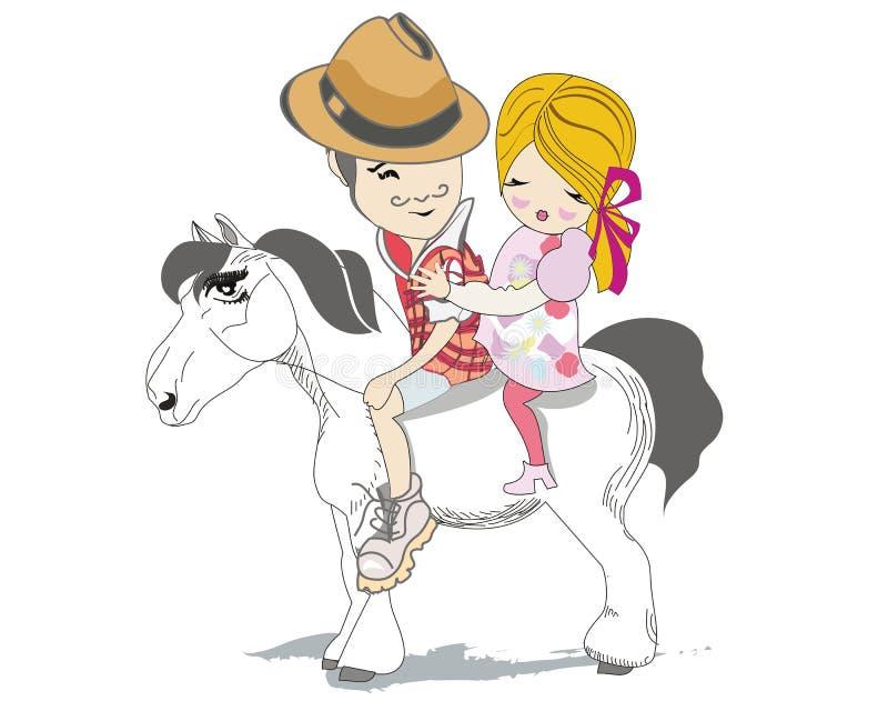 Det romantiska paret reser på en vit häst vektor illustrationer